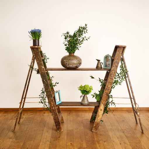 Step ladder display with pots